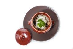 Gnocchi e funghi della carne in un vaso di argilla Fotografia Stock