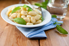 Gnocchi with fresh sage Royalty Free Stock Images