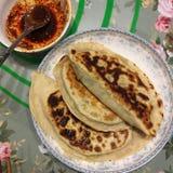 gnocchi fritti casalinghi con salsa fredda Fotografia Stock