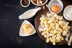 Gnocchi hecho en casa crudo con una salsa cremosa y un perejil de la seta fotografía de archivo libre de regalías