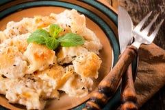 Gnocchi met kaas stock foto