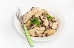 Gnocchi with mushroom sauce Stock Images