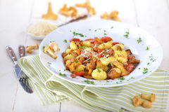 Gnocchi with mushrooms Royalty Free Stock Photography
