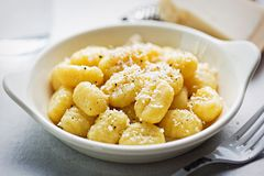 Gnocchi with olive oil and parmesan.  Stock Images