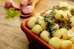 Gnocchi with pesto sauce italian food elaboration Stock Photography