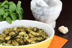 Gnocchi with pesto sauce Royalty Free Stock Image