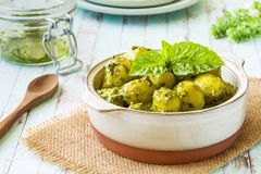 Gnocchi with `Pesto` sauce, in terracotta bowl stock photography