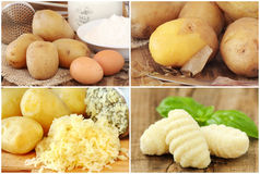 Gnocchi preparation collage Royalty Free Stock Images