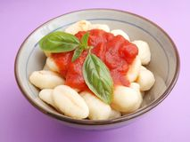 Gnocchi with a sauce of tomatoes Stock Image