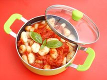 Gnocchi with a sauce of tomatoes Royalty Free Stock Image