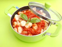 Gnocchi with a sauce of tomatoes Royalty Free Stock Images