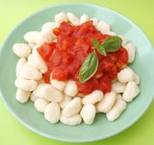 Gnocchi with a sauce of tomatoes Royalty Free Stock Photography