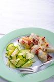 Gnocchi Slesiani con bacon e lo zucchini Immagini Stock Libere da Diritti