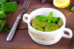 Gnocchi with spinach, basil and lemon Stock Image