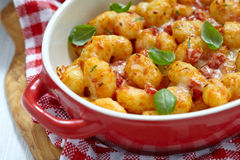 Gnocchi with tomato sauce and parmesan cheese Royalty Free Stock Photos