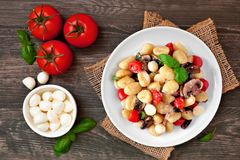 Gnocchi with tomatoes, mozzarella, mushrooms and basil, top view table scene over dark wood. Gnocchi with tomatoes, mozzarella, mushrooms and basil. Above view royalty free stock photography