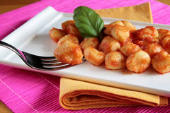 Gnocchi van de tomatensaus Royalty-vrije Stock Foto