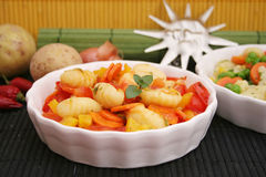 Gnocchi with vegetables Royalty Free Stock Images