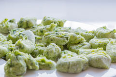 Gnocchi with wild garlic is Prepared Royalty Free Stock Photography