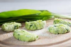 Gnocchi with wild garlic is Prepared Stock Photos