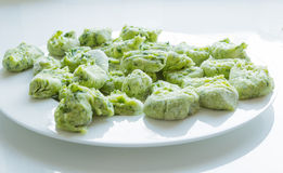 Gnocchi with wild garlic is Prepared Royalty Free Stock Image