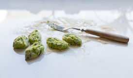 Gnocchi with wild garlic is Prepared Royalty Free Stock Photo