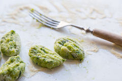Gnocchi with wild garlic is Prepared Stock Photography