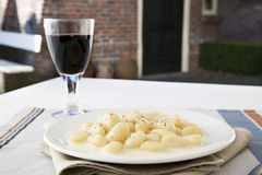 Gnocchi and Wine Dinner royalty free stock image