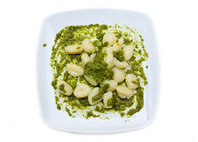 Gnocchi z pesto od above Obraz Stock