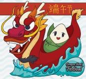 Gnocco sveglio di Zongzi sopra Dragon Boat per il festival di Duanwu, illustrazione di vettore Fotografie Stock Libere da Diritti
