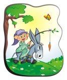 Gnom auf einem Esel Stockbild