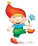 Gnome. Small happy gnome, go, in red cap Stock Photos