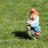 Gnome. Little gnome riding turtle over green grass field Stock Photography