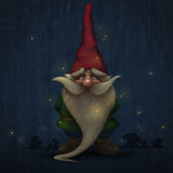 Gnome. With long beard encircled to firefly Royalty Free Stock Photos