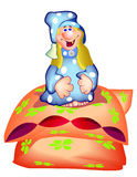 Gnome. Illustration for children. The cheerful gnome sits on a pillow Stock Image