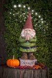 Gnome avec le potiron sur le tronçon d'arbre avec des fées et le mot Gnomaste Photographie stock
