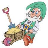 Gnome avec un chariot Images libres de droits