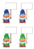 Gnome with blank sign Royalty Free Stock Image