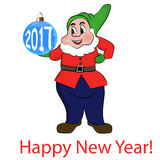 Gnome with blue balls. Happy New Year 2017. Vector. Illustration Royalty Free Stock Image