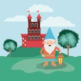 Gnome in the camp with castle. Vector illustration design vector illustration