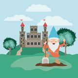 Gnome in the camp with castle. Vector illustration design royalty free illustration