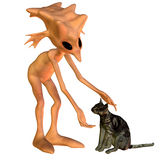 Gnome with cat. 3d rendering a Fantasy figure with a cat as illustration in the comic style Royalty Free Stock Photo