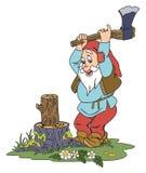 Gnome chopping wood. Illustration of elderly gnome chopping wood on the glade stock illustration
