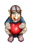 Gnome dans les mains avec le coeur Photographie stock libre de droits