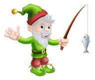 Gnome de jardin avec la canne à pêche Image stock