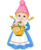 Gnome del giardino con il cestino Immagini Stock