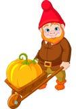 Gnome do jardim com wheelbarrow Foto de Stock Royalty Free