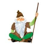 Gnome do jardim que senta equipado com pernas transversal. Vetor EPS10. Foto de Stock Royalty Free