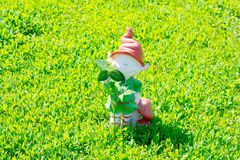 Gnome figurine with a clover leaf in his hands royalty free stock images