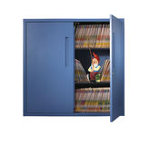 Gnome in filing cabinet fishing with fishing rod Stock Photography
